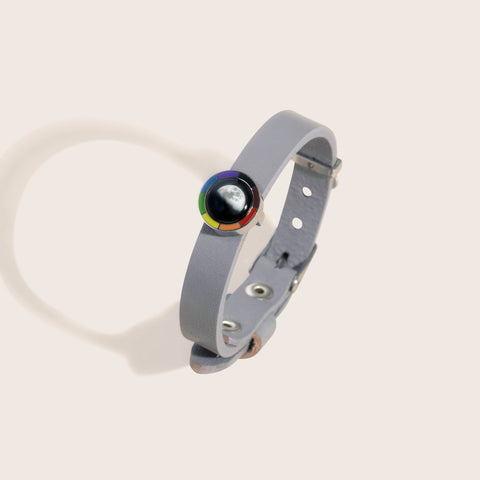 Philautia Rainbow Bracelet with Gray Leather Band
