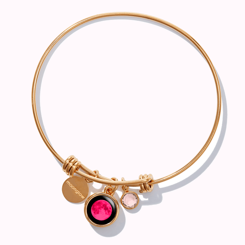 Pink Moon Birthstone Bangle Bracelet in Gold