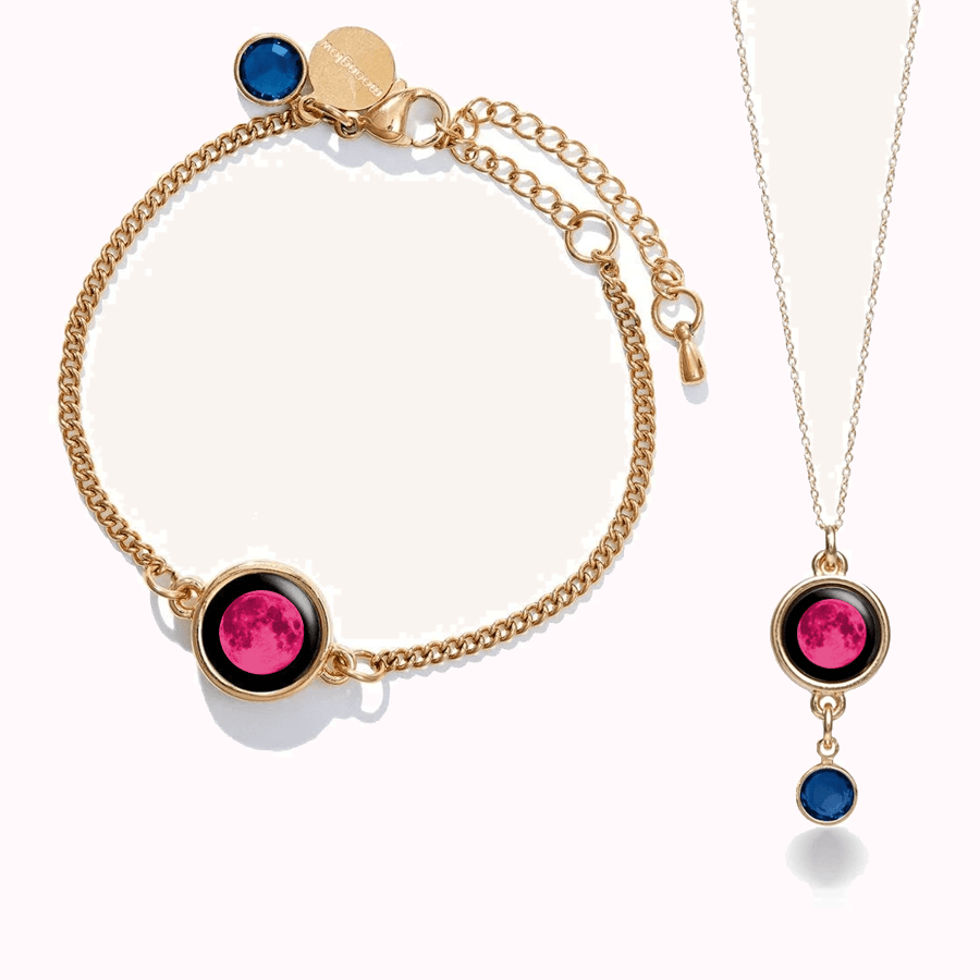 Pink Moon Birthstone Pallene Bracelet + Birthstone Necklace in Gold Set