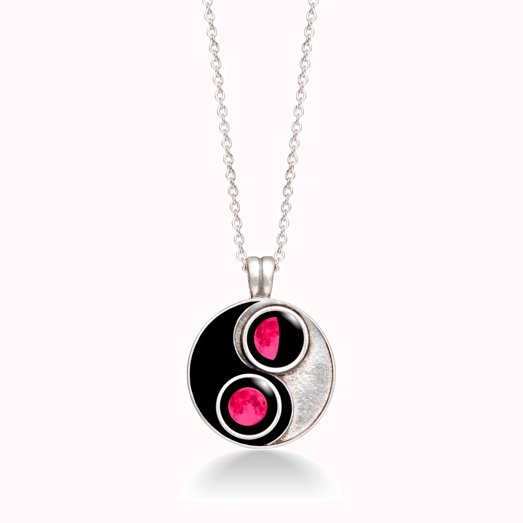 Pink Moon Midnight Taijitu Necklace in Black