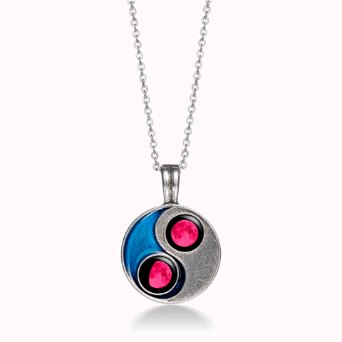 Pink Moon Taijitu Necklace in Blue