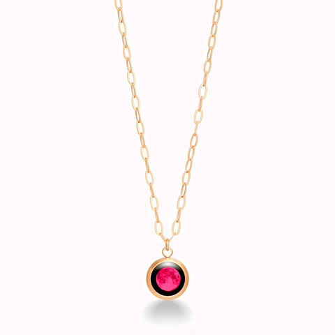 Pink Moon -  Mini Moon Pendant in Brushed Gold