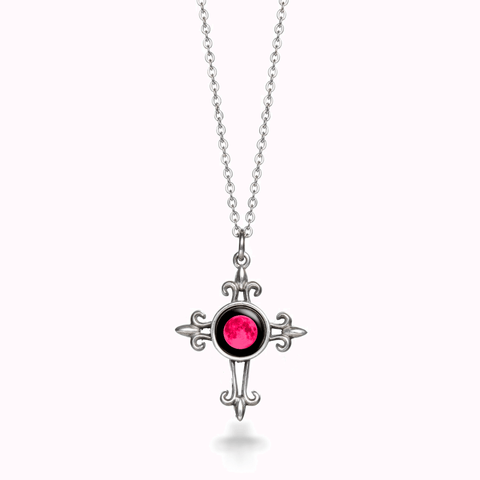 Pink Moon Medieval Cross Necklace
