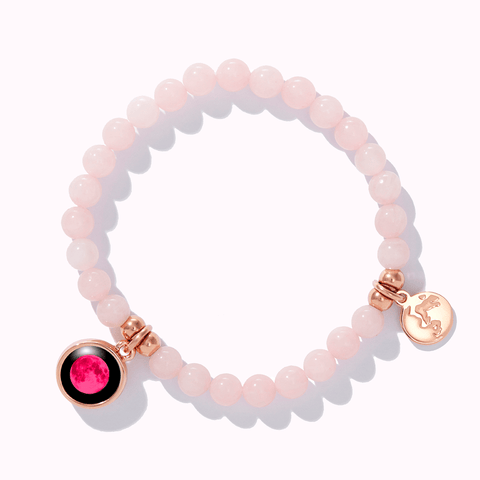 Pink Moon Loving Energy Beaded Bracelet in Rose Gold