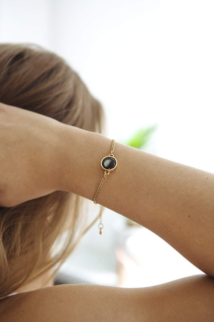 Birthstone Pallene Bracelet + Birthstone Necklace in Gold Set