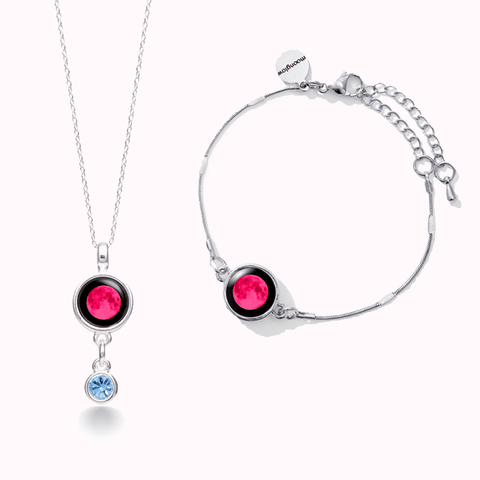 Pink Moon Birthstone Satellite Necklace +Mini Satellite Bracelet