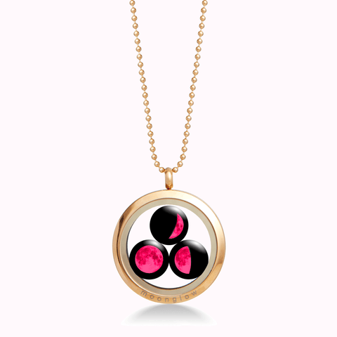 Pink Moon Family Locket in Gold