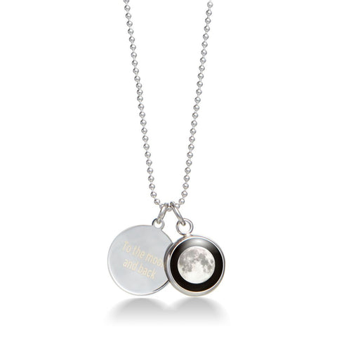 Moon & Engravable Charm Necklace