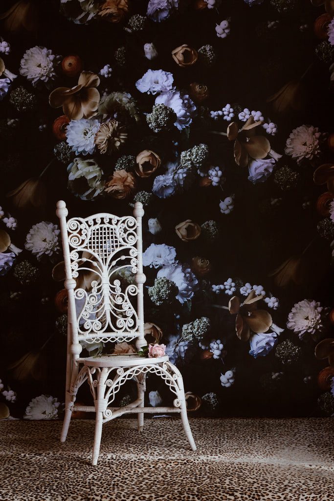 The Calm Before The Storm Dark Floral Grasscloth Wallpaper - Ashley Woodson Bailey