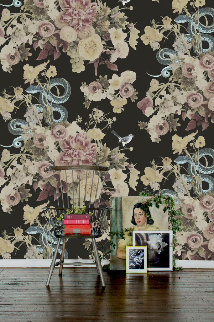 Fay Dark Floral Wallpaper - Ashley Woodson Bailey