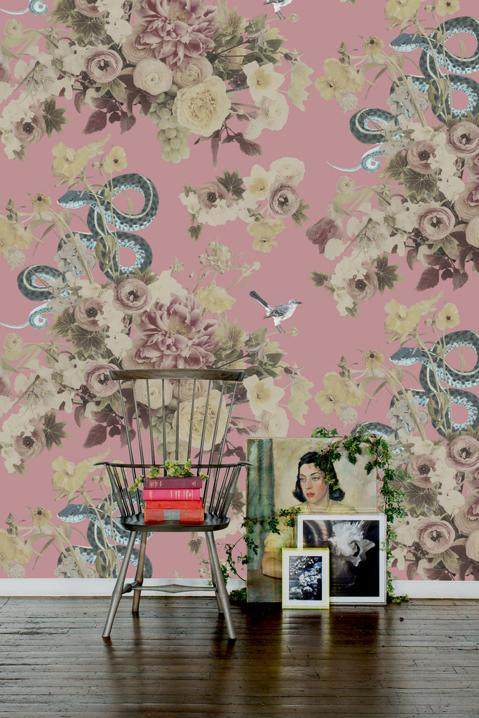 Fay Pink Vibrant Floral Wallpaper - Ashley Woodson Bailey