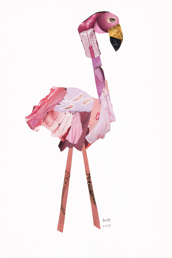 FLAMINGO COWGIRL COLLAGE - Ashley Woodson Bailey