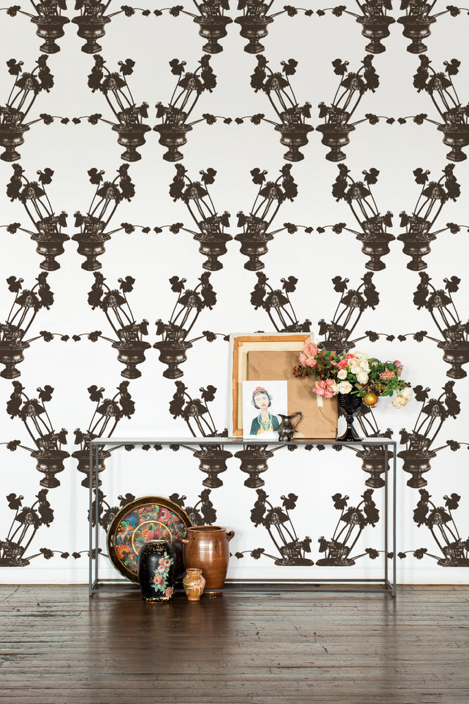Frida Black & White Light Floral Wallpaper - Ashley Woodson Bailey