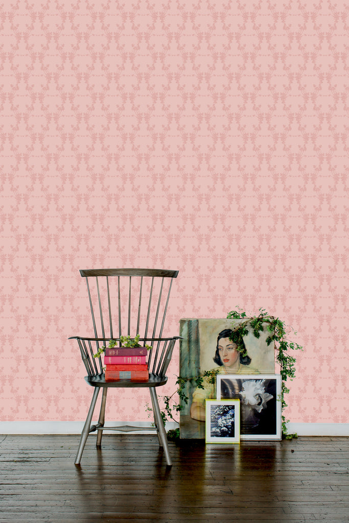 Frida Paloma Heather Pink Light Floral Wallpaper - Ashley Woodson Bailey