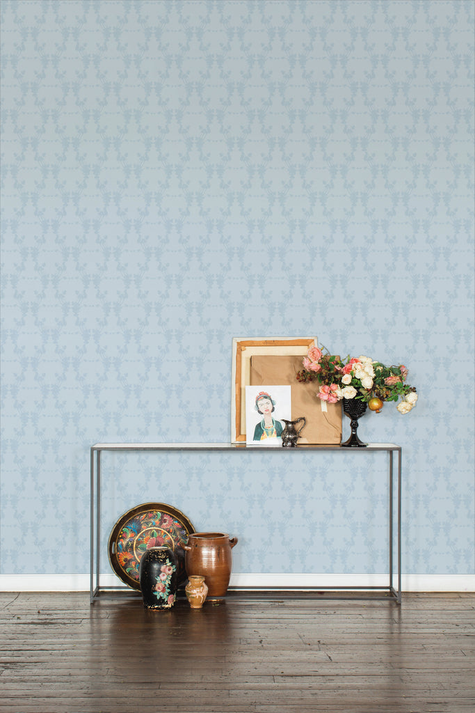 Frida Paloma Pale Blue Light Floral Wallpaper - Ashley Woodson Bailey