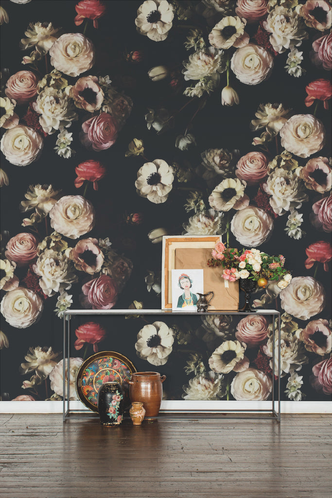 Into the Garden Black Dark Floral Wallpaper - Ashley Woodson Bailey