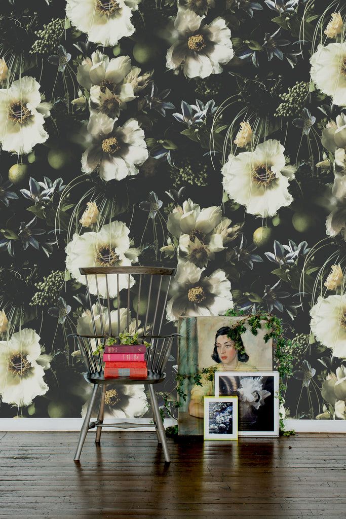 Jungle Boogie Dark Floral Grasscloth Wallpaper - Ashley Woodson Bailey