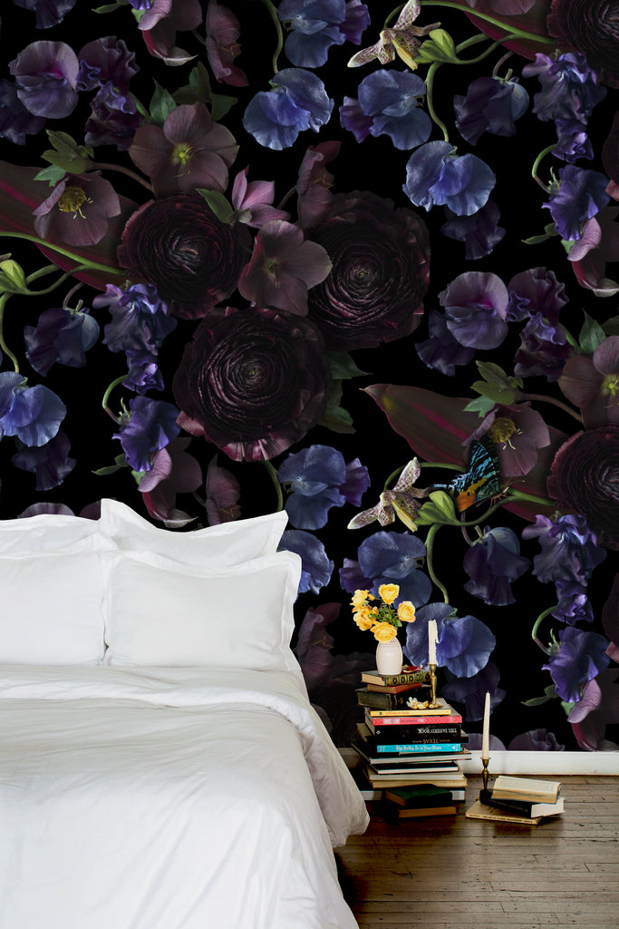 Midnight Floral Dark Floral Wallpaper - Ashley Woodson Bailey