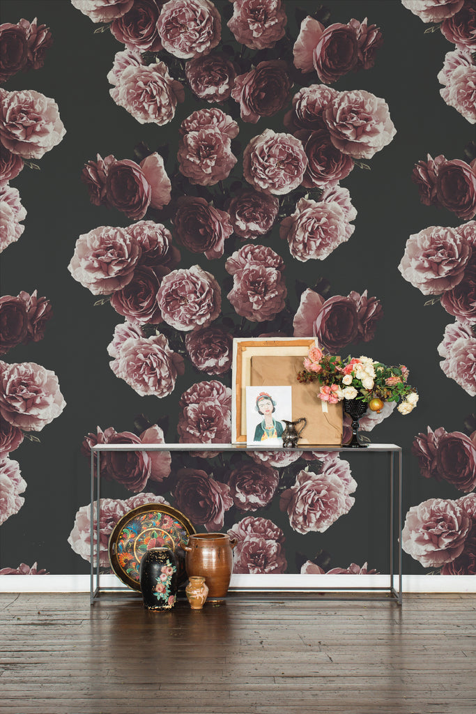 Rosita Rose Dark Floral Grasscloth Wallpaper - Ashley Woodson Bailey