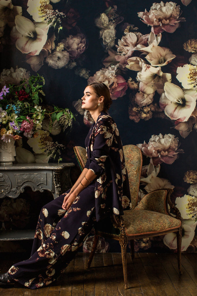 Dutch Love Dark Floral Fabric - Ashley Woodson Bailey