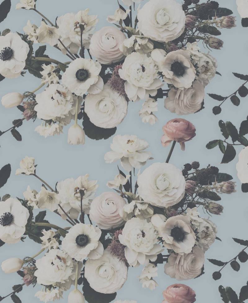 Into the Garden Blue Light Floral Wallpaper - Ashley Woodson Bailey