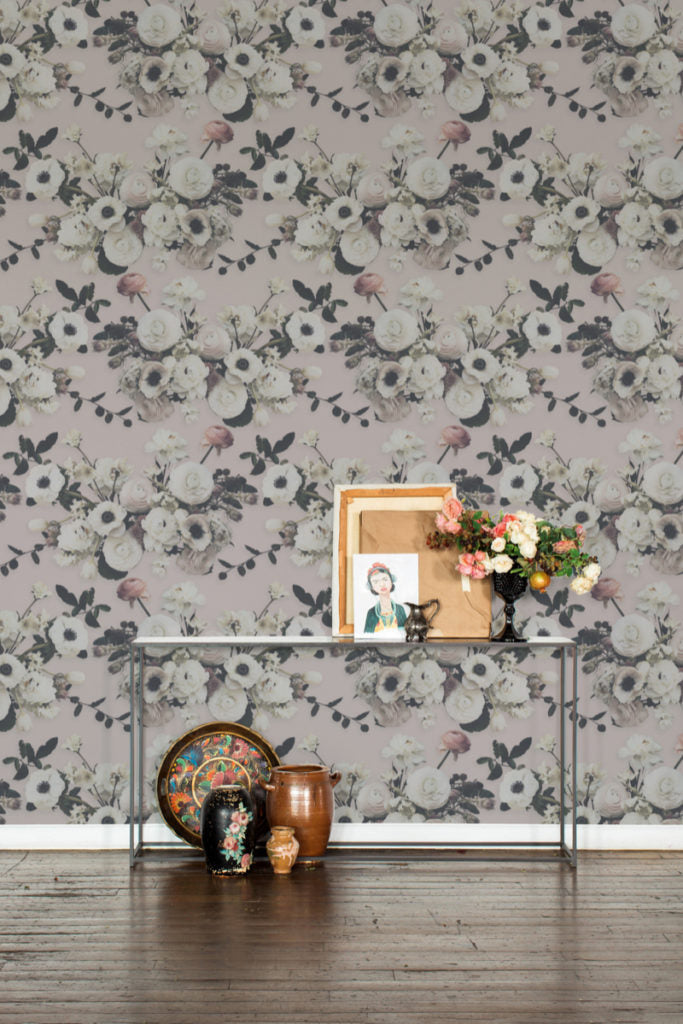 Into the Garden Blush Grasscloth Wallpaper
