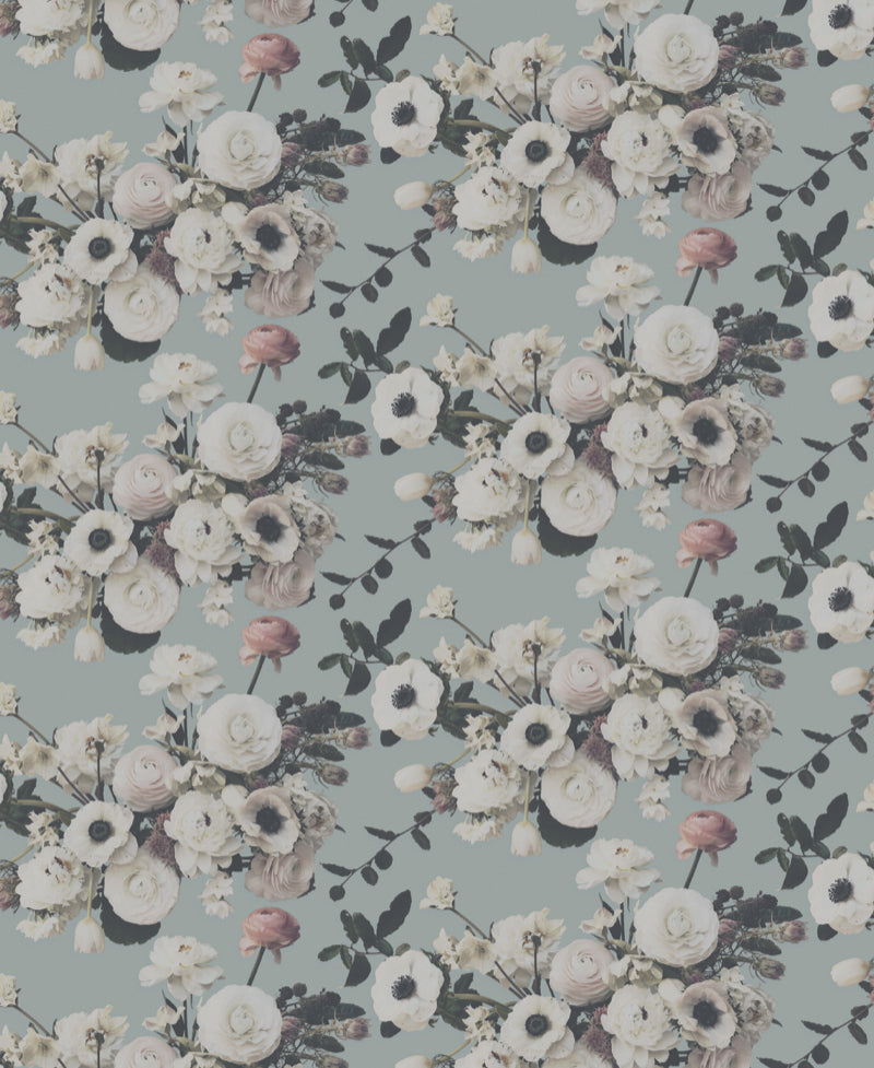 Into the Garden Sage Light Floral Wallpaper - Ashley Woodson Bailey