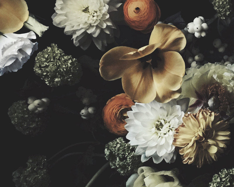The Calm Before The Storm Dark Floral Wallpaper - Ashley Woodson Bailey