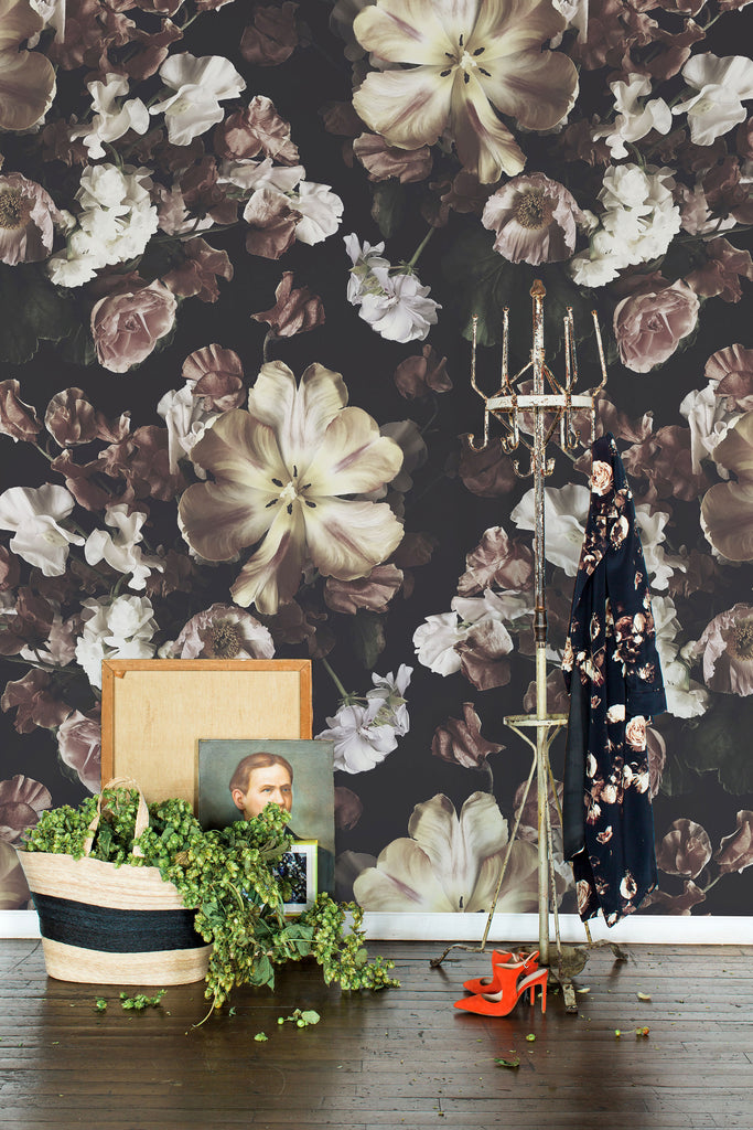 Reese Dark Floral Grasscloth Wallpaper - Ashley Woodson Bailey