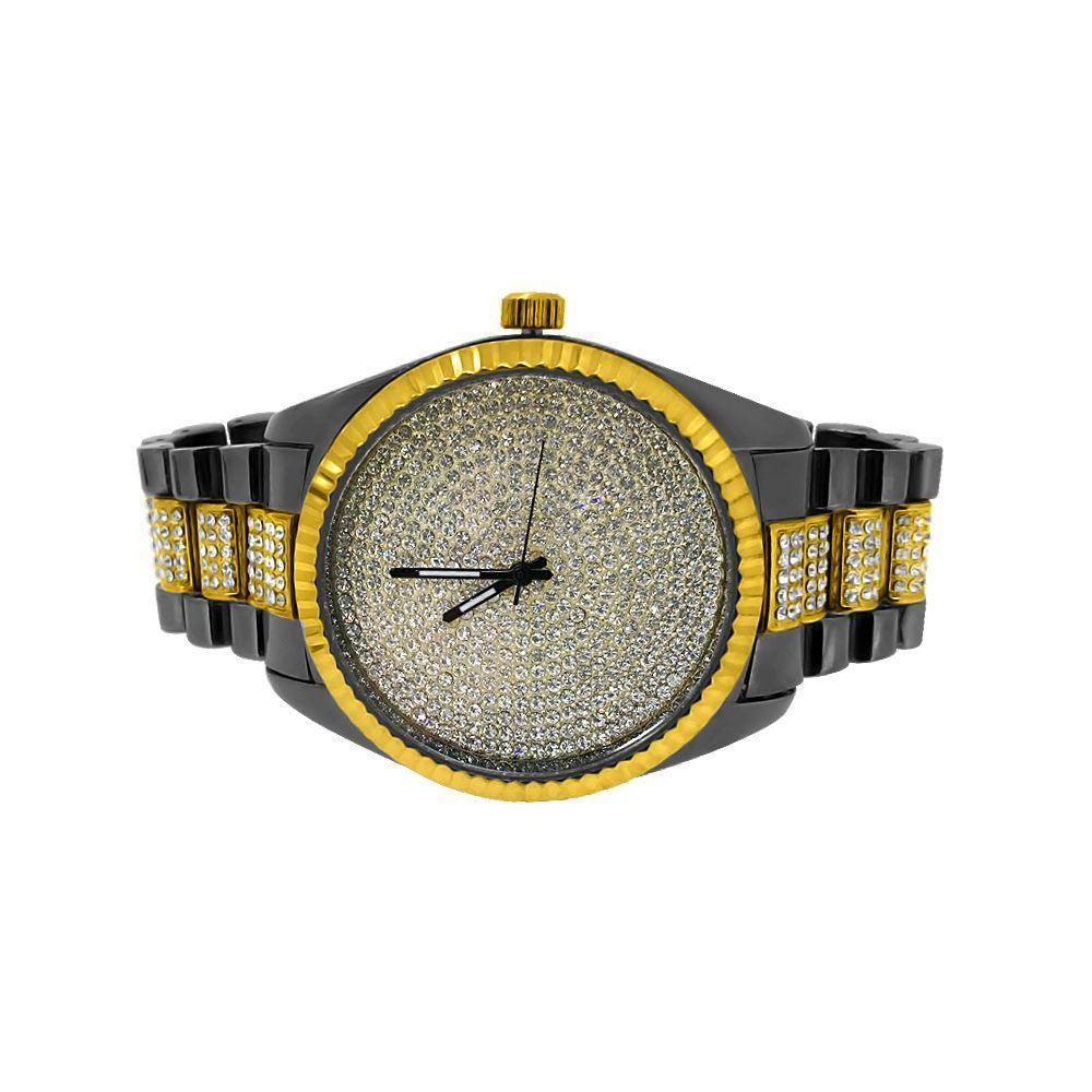 Gold and Black Bling Bling Dress Watch Bracelet Set