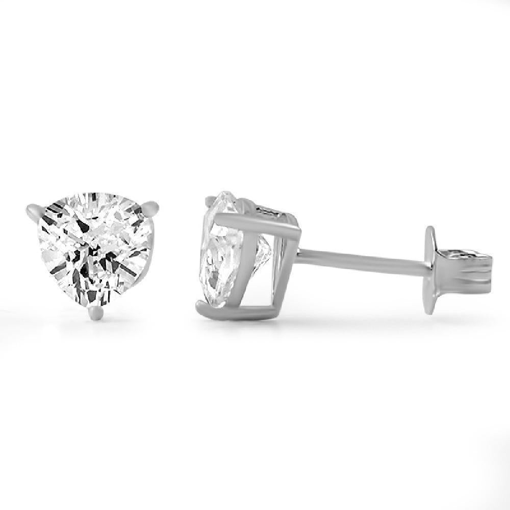 Trillion Cut CZ Stud Earrings .925 Silver