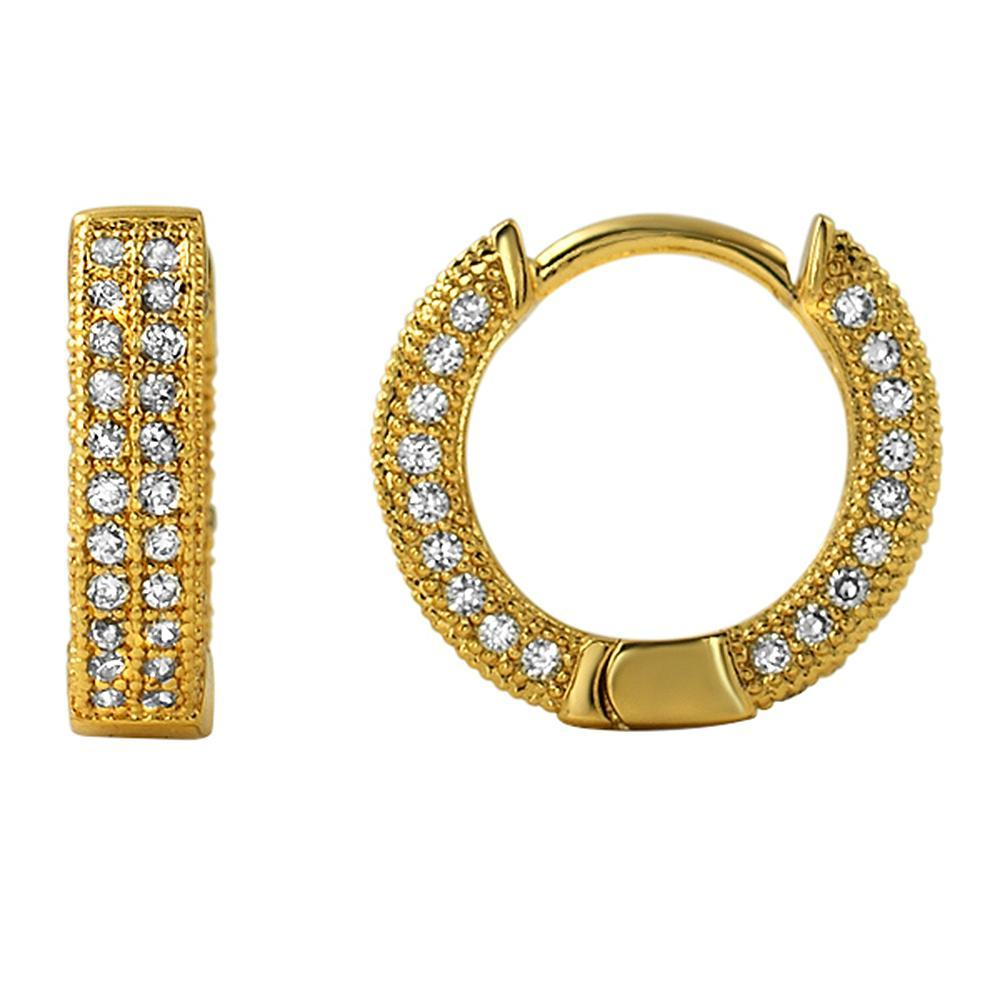 3D Hoop Earrings Gold CZ Micro Pave