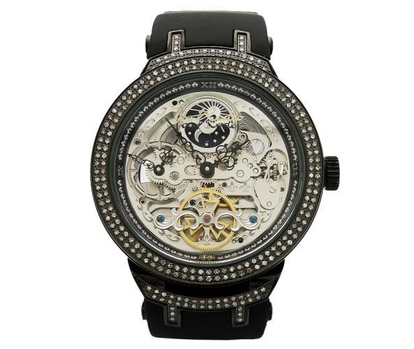 Black Skeleton Watch Joe Rodeo 2.20ct Diamonds