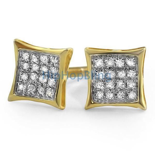 .10ct Diamond Kite Micro Pave Earrings Gold Vermeil