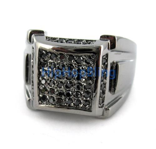Black Ice Mound Bling Bling CZ Mens Ring