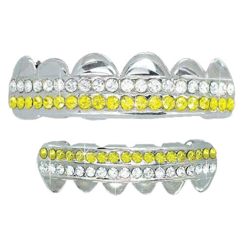 Yellow White 2 Row Iced Out Grillz Top Bottom Set
