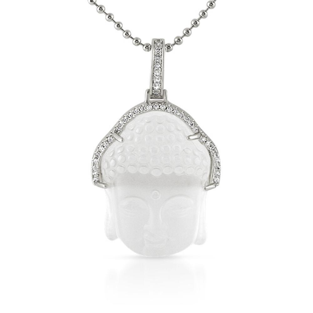 Carved Frosted Crystal Buddha Pendant Rhodium CZ Hair Outline