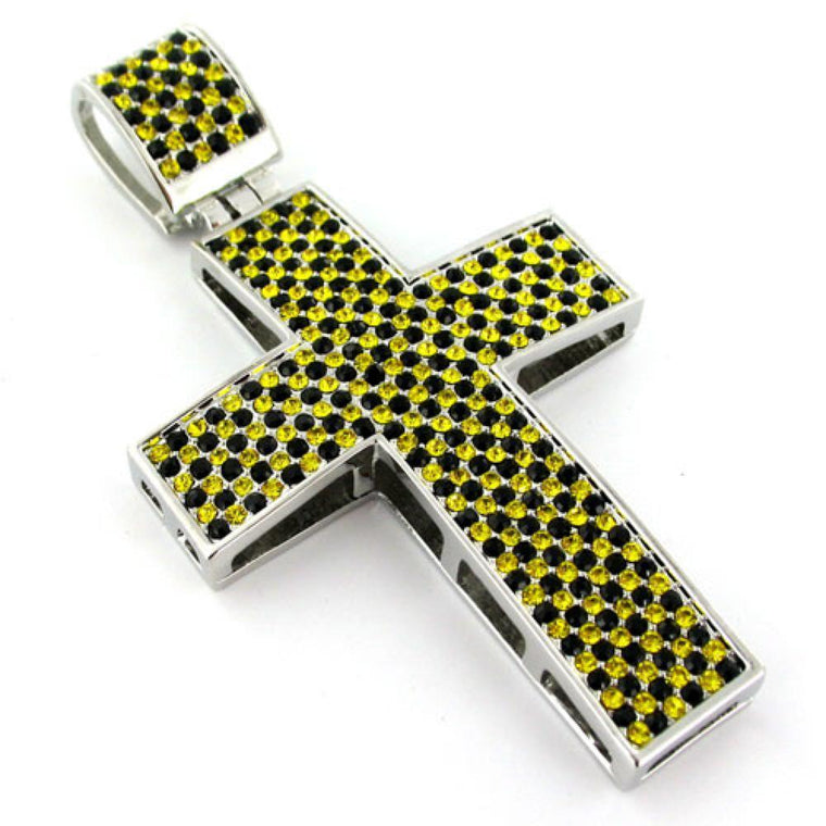 Black Yellow Rhodium Cross Pendant