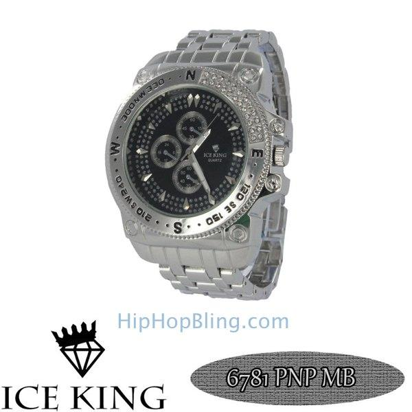 Bling Chrono Silver Watch Black Dial