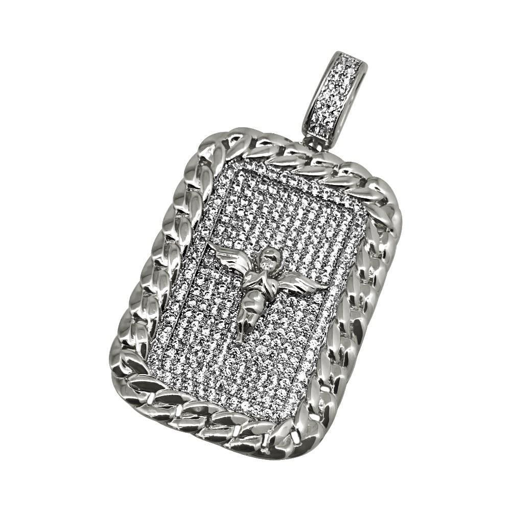 .925 Silver Cherub Angel Rhodium Cuban CZ Rectangle Pendant