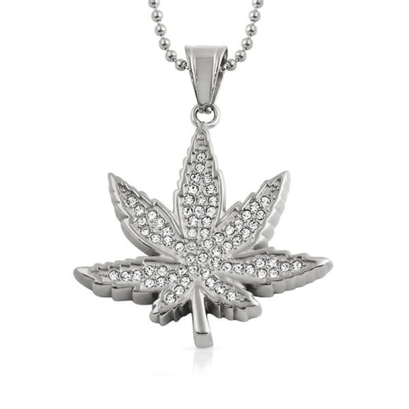 Marijuana Leaf Pendant Stainless Steel