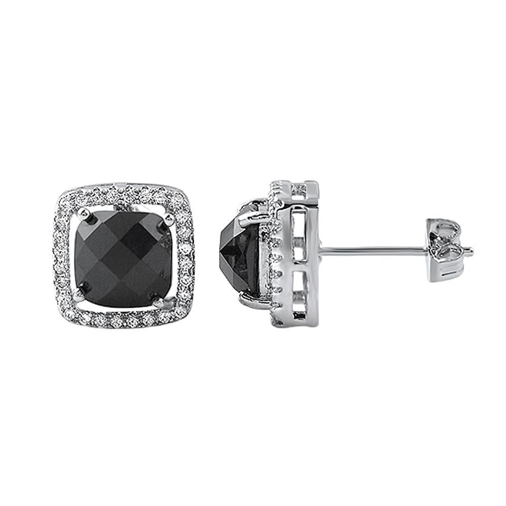 Black Rose Cut CZ Halo Rhodium Earrings