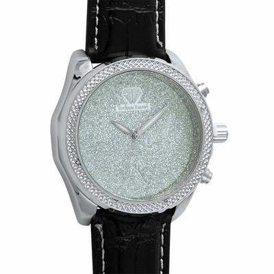 .08cttw Diamond Hip Hop Watch Black Leather