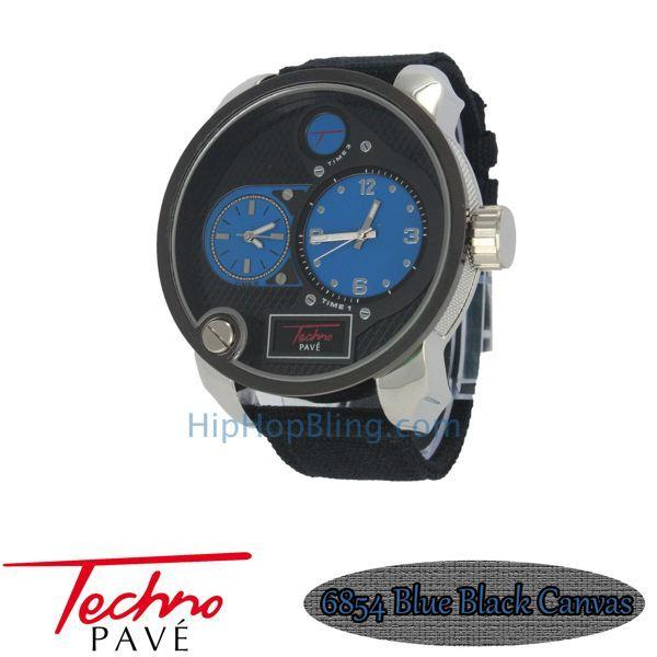Blue Dial Dual Timezone Silver Watch Black Canvas Band