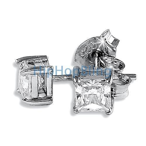 4mm Princess Cut Signity CZ Sterling Silver Earrings
