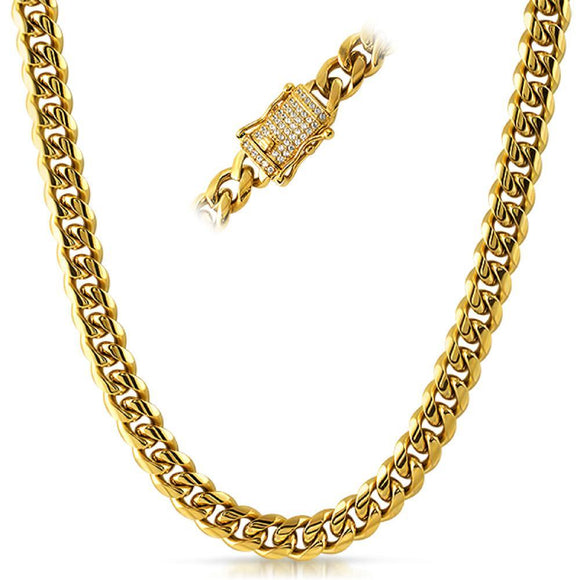CZ Diamond Lock Cuban Chain 10MM Gold Steel