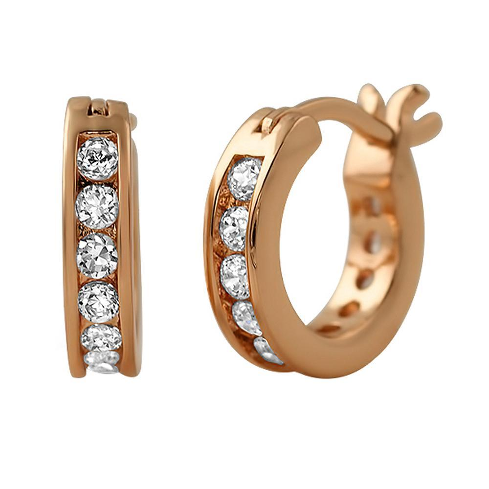 Channel Hoop Rose Gold CZ Bling Bling Earrings