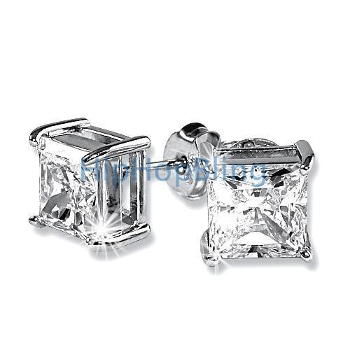 7mm Princess Cut Signity CZ Diamond Solitaire Silver Earrings