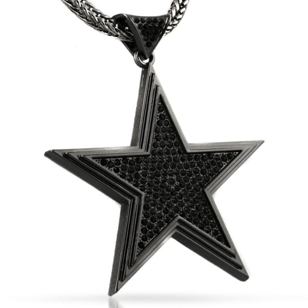 Super Star Black Bling Bling Pendant