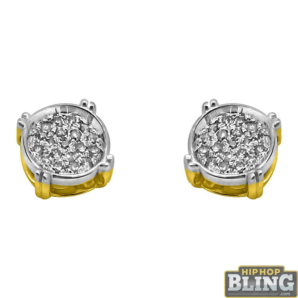 10K Gold Small Circle Earrings .08cttw Diamonds